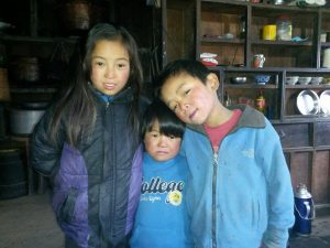 Three Sherpa children